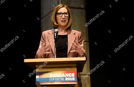 Keri Putnam, executive director of the Sundance Institute, addresses reporters during the opening day press conference at the 2019 Sundance Film Festival, in Park City, Utah