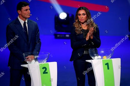 Former Argentinian soccer player Javier Zanetti (L) and Brazilian player Marta participate in the draw of Copa America Brazil 2019, in Rio de Janeiro, Brazil, 24 January 2019. The Copa America tournament will run from 14 June to 07 July 2019.