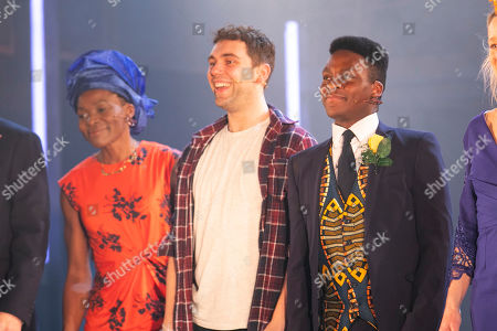 Rakie Ayola (Grace), Billy Cullum (Alex) and Tyrone Huntley (Obi) during the curtain call