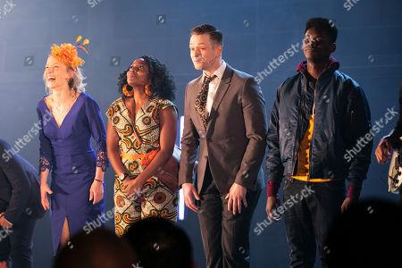 Johanne Murdock (Diane), Aretha Ayeh (Chichi), Sandy Batchelor (Raymond) and Cornell S John (Kenneth) during the curtain call