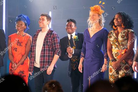 Rakie Ayola (Grace), Billy Cullum (Alex), Tyrone Huntley (Obi), Johanne Murdock (Diane) and Aretha Ayeh (Chichi) during the curtain call