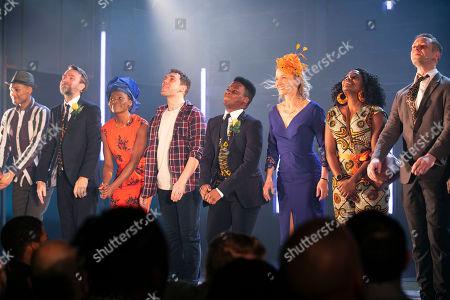 Arun Blair-Mangat (Damien), Martin Fisher (Brian), Rakie Ayola (Grace), Billy Cullum (Alex), Tyrone Huntley (Obi), Johanne Murdock (Diane), Aretha Ayeh (Chichi) and Sandy Batchelor (Raymond) during the curtain call