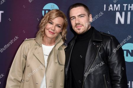 "Stock Image of Connie Nielsen, Sebastian Sartor. Connie Nielsen, left, and Sebastian Sartor attend the LA premiere of ""I Am the Night"" at Harmony Gold Theater, in Los Angeles"
