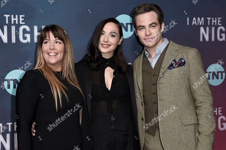 "Patty Jenkins, Gal Gadot, Chris Pine. Patty Jenkins, from left, Gal Gadot and Chris Pine attend the LA premiere of ""I Am the Night"" at Harmony Gold Theater, in Los Angeles"