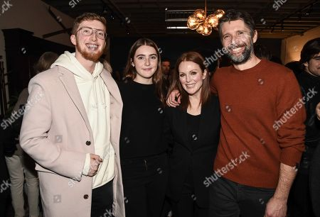 "Caleb Freundlich, Liv Freundlich, Julianne Moore, Bart Freundlich. From left to right, Caleb Freundlich, Liv Frenudlich, actress Julianne Moore, and director Bart Freundlich seen at the Chase Sapphire hosted ""After the Wedding"" after party at Chase Sapphire on Main at Sundance Film Festival 2019 on in Park City, Utah"