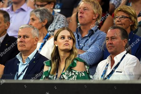 (L-R) Australian deputy prime minister Michael McCormack, his daughter Georgina McCormack, and Australian chef Neil Perry attend the men's singles semi final match between Novak Djokovic of Serbia and Lucas Pouille of France at the Australian Open Grand Slam tennis tournament in Melbourne, Australia, 25 January 2019.