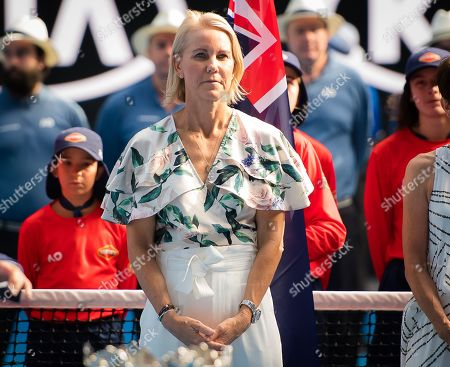 Rennae Stubbs during the trophy ceremony after the womens doubles final