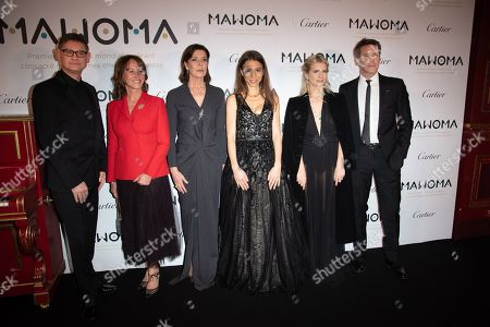 Stock Picture of (From L) CEO of Cartier Cyrille Vigneron, Segolene Royal, Princess Caroline of Hanover, Clemence Guerrand, French pianist and Founding President of MAWOMA, French actress Melanie Laurent and Prince Emanuele Filiberto