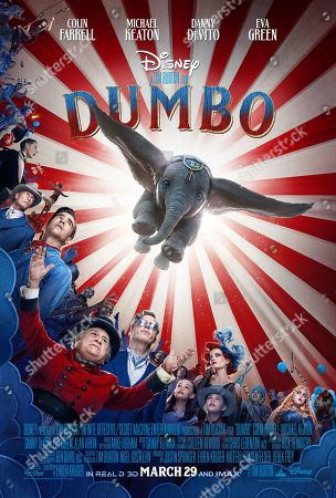 Dumbo (2019) Poster Art. Joseph Gatt as Neils Skellig, Colin Farrell as Holt Farrier, Danny DeVito as Max Medici, Michael Keaton as V. A. Vandevere, Nico Parker as Milly Farrier, Finley Hobbins as Joe Farrier, Eva Green as Colette Marchant and Sharon Rooney as Miss Atlantis