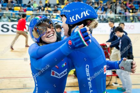 Martina Alzini and Letizia Paternoster of Italy celebrate winning Gold in the Women's Team Pursuit final.