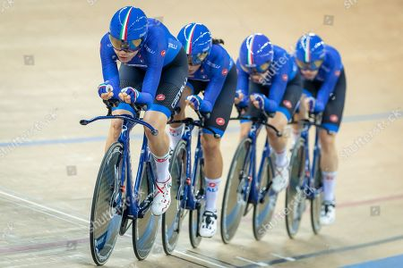 Martina Alzini, Elisa Balsamo, Letizia Paternoster and Marta Cavalli of Italy in action during the Women's Team Pursuit first round.