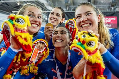 Martina Alzini, Elisa Balsamo, Letizia Paternoster and Marta Cavalli of Italy win Gold in the Women's Team Pursuit final.