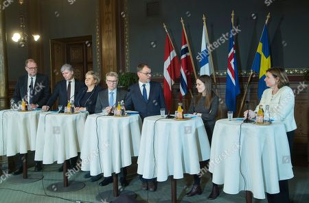 Stock Image of (L-R) Lars Christian Lilleholt, Minister for Energy, Utilities and Climate from Denmark (L), Ola Elvestuen, Minister of Climate and Environment fron Norway, Erna Solberg, Prime Minister from Norway, Kimmo Tiilikainen, Minister of Environment, Energy and Housing from Finland, Juha Sipila Prime Minister from Finland, Katrin Jakobsdottir, Prime Minister from Iceland and Isabella Lovin for International Development Cooperation and Climate and Depyty Prime Minister from Sweden (R) speak to the press during the Nordic ministers summit in Helsinki, Finland, 25 January 2019. Finnish Prime Minister Juha Sipila and the Minister of the Environment, Energy and Housing Kimmo Tiilikainen have invited Prime Ministers and Climate Ministers from the Nordic countries to Helsinki on 25 January to strengthen joint Nordic action on climate change.