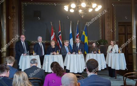 (L-R, background) Lars Christian Lilleholt, Minister for Energy, Utilities and Climate from Denmark (L), Ola Elvestuen, Minister of Climate and Environment fron Norway, Erna Solberg, Prime Minister from Norway, Kimmo Tiilikainen, Minister of Environment, Energy and Housing from Finland, Juha Sipila Prime Minister from Finland, Katrin Jakobsdottir, Prime Minister from Iceland and Isabella Lovin for International Development Cooperation and Climate and Depyty Prime Minister from Sweden (R) speak to the press during the Nordic ministers summit in Helsinki, Finland, 25 January 2019. Finnish Prime Minister Juha Sipila and the Minister of the Environment, Energy and Housing Kimmo Tiilikainen have invited Prime Ministers and Climate Ministers from the Nordic countries to Helsinki on 25 January to strengthen joint Nordic action on climate change.
