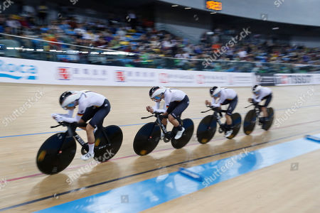Martina Alzini, Letizia Paternoster. Team German compete during the women's team pursuit final at the World Track Cycling championships in Hong Kong on