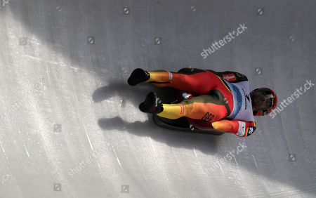 Chris Rene Eissler of Germany in action during the qualification for the men's Sprint race at the Luge World Championships in Winterberg, Germany, 25 January 2019.