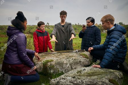 Rhianna Dorris as Kaye, Louis Ashbourne Serkis as Alex, Angus Imrie as Young Merlin, Dean Chaumooas Mark Bedford and Tom Taylor as Lance