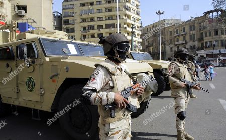 Egyptian security forces stand guard in Tahrir Square, Cairo, Egypt, 25 January 2019 on the eighth anniversary of the uprising that toppled former President Hosni Mubarak. More than 800 people were killed and thousands injured during the 18-day uprising against the Egyptian regime which led to the removal of President Hosni Mubarak on 11 February 2011.