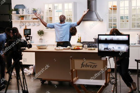 IMAGE DISTRIBUTED FOR FEBREZE - Pro Football Hall of Famer, Terrell Owens, shoots a scene for Febreze's Super Bowl campaign on January 21 in Los Angeles. Owens has partnered with Febreze to ensure that the millions of Super Bowl party hosts (and attendees) are armed with the odor-eliminating M.V.P. of any party - Febreze! Folks can visit youtube.com/febreze to see content featuring Owens and to learn why #PartyPrepWithFebreze is a must