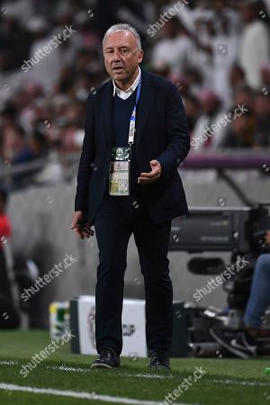 United Arab Emirates' head coach Alberto Zaccheroni, of Italy, directs his team during the AFC Asian Cup quarterfinal soccer match between United Arab Emirates and Australia at Hazza Bin Zayed Stadium in Al Ain, United Arab Emirates
