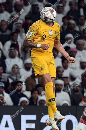 Stock Image of Jamie Maclaren of Australia in action during the 2019 AFC Asian Cup quarter final match between Australia and UAE in Al Ain, United Arab Emirates, 25 January 2019.