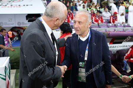 Australia's head coach Graham Arnold (L) and UAE's head coach Alberto Zaccheroni prior the 2019 AFC Asian Cup quarter final match between Australia and UAE in Al Ain, United Arab Emirates, 25 January 2019.