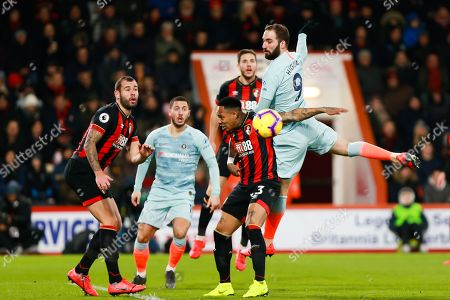 Gonzalo Higua?n of Chelsea out jumps Nathaniel Clyne of Bournemouth