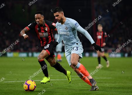 Emerson Palmieri of Chelsea gets past Nathaniel Clyne of Bournemouth