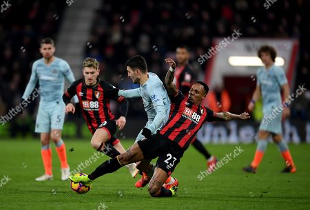 Nathaniel Clyne of Bournemouth tackles Mateo Kovacic of Chelsea