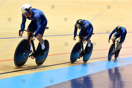 Stock Image of Ryan Owens, Philip Hindes and Jason Kenny during the Male Semi Final Team Sprint.