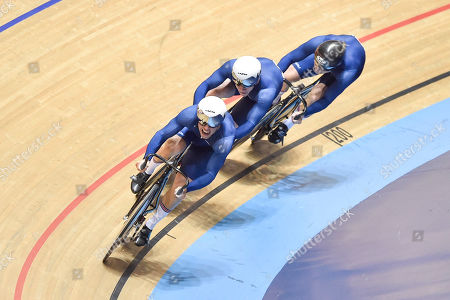 Ryan Owens, Jack Carlin and Philip Hindes of Great Britain on their way to winning gold in the Male Team Sprint.