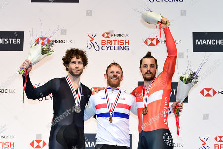 Stock Image of Jon-Allan Butterworth, Jody Cundy and Blaine Hunt on the podium after the the Para C 200m Flying Start Time Trial.