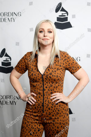 Jessie Jo Dillon arrives at a party for Grammy nominees, in Nashville, Tenn
