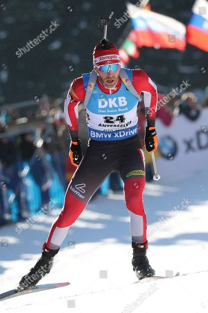 Simon Eder of Austria in action during the men's 10km Sprint race at the Biathlon World Cup in Antholz-Anterselva, Italy, 25 January 2019.