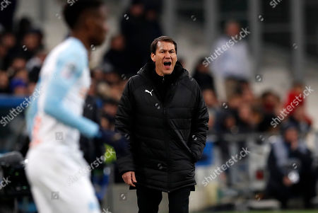 Stock Image of Olympique Marseille's French head coach Rudi Garcia gestures during the French Ligue 1 soccer match between Olympique Marseille and Lille OSC at the Velodrome Stadium in Marseille, southern France, 25 January 2019.