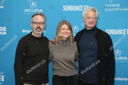 "Peter Saraf, Daniele Melia, Marc Turtletaub. Producers, from left to right, Peter Saraf, Daniele Melia, and Marc Turtletaub pose at the premiere of ""The Farewell"" during the 2019 Sundance Film Festival, in Park City, Utah"