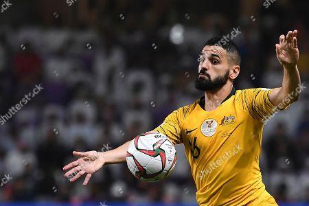 Australia's defender Aziz Behich controls the ball during the AFC Asian Cup quarterfinal soccer match between United Arab Emirates and Australia at Hazza Bin Zayed Stadium in Al Ain, United Arab Emirates