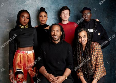 "KiKi Layne, Sanaa Lathan, Rashid Johnson, Nick Robinson, Ashton Sanders, Suzan-Lori Parks. KiKi Layne, from left, Sanaa Lathan, director Rashid Johnson, Nick Robinson, Ashton Sanders, and writer Suzan-Lori Parks pose for a portrait to promote the film ""Native Son"" at the Salesforce Music Lodge during the Sundance Film Festival, in Park City, Utah"