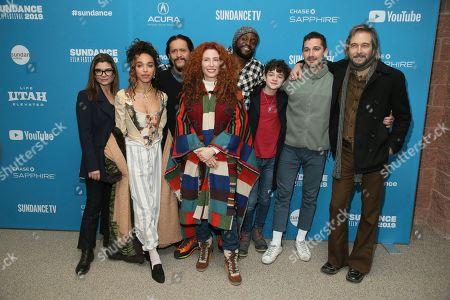 "Alma Har'el, Laura San Giacomo, FKA Twigs, Clifton Collins, Byron Bowers, Noah Jupe, Shia LaBeouf, Craig Stark. Director Alma Har'el, fourth from left, poses with actors from left to right, Laura San Giacomo, FKA Twigs, Clifton Collins, Byron Bowers, Noah Jupe, Shia LaBeouf, and Craig Stark at the premiere of ""Honey Boy"" during the 2019 Sundance Film Festival, in Park City, Utah"