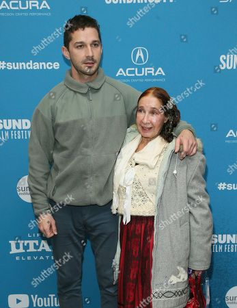 "Stock Image of Shia LaBeouf, Shayna Saide. Actor Shia LaBeouf and his mother Shayna Saide pose at the premiere of ""Honey Boy"" during the 2019 Sundance Film Festival, in Park City, Utah"