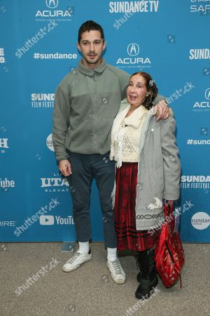 "Shia LaBeouf, Shayna Saide. Actor Shia LaBeouf and his mother Shayna Saide pose at the premiere of ""Honey Boy"" during the 2019 Sundance Film Festival, in Park City, Utah"