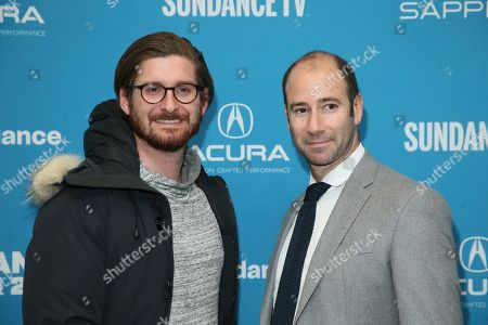 "Christopher Leggett, Rafael Marmor. Executive producers Christopher Leggett, left, and Rafael Marmor, right, pose at the premiere of ""Honey Boy"" during the 2019 Sundance Film Festival, in Park City, Utah"