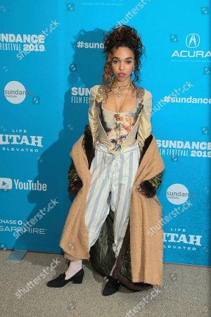 "FKA Twigs, Tahliah Debrett Barnett. Actress FKA Twigs poses at the premiere of ""Honey Boy"" during the 2019 Sundance Film Festival, in Park City, Utah"