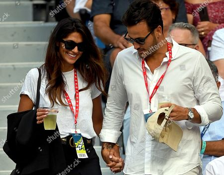 Stock Image of Australian-Chilean model and actress Pia Miller (L) and husband Australian rules football player Brad Miller are seen ahead of the women's singles final match between Naomi Osaka of Japan and Petra Kvitova of the Czech Republic at the Australian Open Grand Slam tennis tournament in Melbourne, Australia, 26 January 2019.