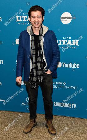"Luke Slattery, a cast member in ""Late Night,"" poses at the premiere of the film during the 2019 Sundance Film Festival, in Park City, Utah"