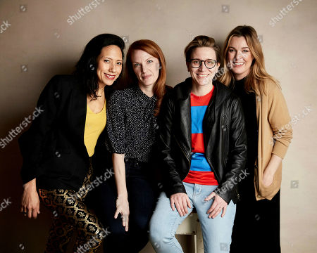"""Stock Picture of Andrea Suarez Paz, Samantha Buck, Marie Schlingmann, Anna Margaret Hollyman. Andrea Suarez Paz, from left, writer/director Samantha Buck, writer/director Marie Schlingmann and Anna Margaret Hollyman pose for a portrait to promote the film """"Sister Aimee"""" at the Salesforce Music Lodge during the Sundance Film Festival, in Park City, Utah"""