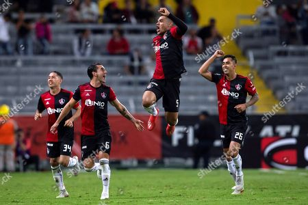 Anderson Santamaria (2-R) of Atlas celebrates with team mates after scoring during a game of the Mexican Tournament between Atlas and Lobos at Jalisco Stadium in Guadalajara, Mexico, 25 January 2019.