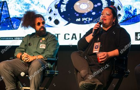 """Reggie Watts, Ana Calderon. Reggie Watts and Ana Calderon seen during """"The Culture of Music Today"""" panel at the Last Call Presents the Complex Music in Film Summit, at Park City Live, in Park City, Utah"""