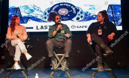 """Michelle Pesce, Reggie Watts, Ana Calderon. Michelle Pesce, Reggie Watts and Ana Calderon seen during """"The Culture of Music Today"""" panel at the Last Call Presents the Complex Music in Film Summit, at Park City Live, in Park City, Utah"""