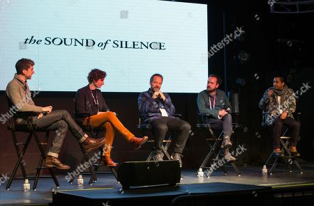 """Ben Nabors, Michael Tyburski, Peter Sarsgaard, Will Bates, Tony Revolori. Ben Nabors, Michael Tyburski, Peter Sarsgaard, Will Bates and Tony Revolori seen during """"The Sound of Silence"""" panel at the Last Call Presents the Complex Music in Film Summit, at Park City Live, in Park City, Utah"""